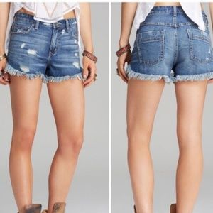 Free People dolphin hem shorts jean cut off denim